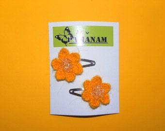Yellow flower hair clip, Crochet hair accessories, Gift for little girl, Handmade hair clip