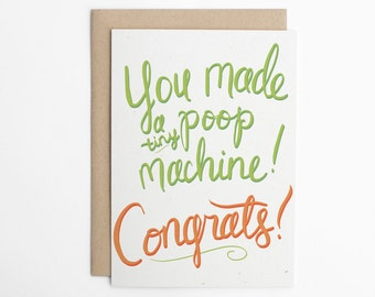Funny New Baby Card - Tiny Poop Machine - Funny Baby Card, Baby Congratulations, Baby card, Congrats Card, Baby Announcement/C-225