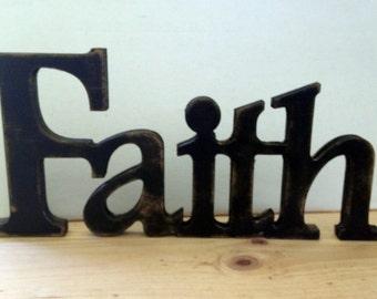 Faith sign,Faith wood sign,religious word art, Religious signs, spiritual signs, inspriational signs,faith plaques,aged religious signs,