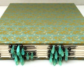 Green & Gold Beaded Spine Hand Stitched Watercolor Journal