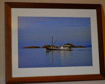 "seascape picture framed in handmade reclaimed teak frame, 16"" by 21"" glazing, featuring M/V David B off Lummi Rocks, scenic natural wall art"