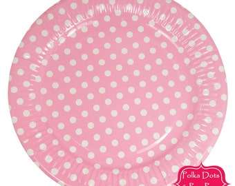 PINK Polka Dot / Disposable Paper tableware / DINNER PLATES 23cm / Pk 12 / Birthday Party Decoration Ideas Supplies / Wedding / Baby Shower