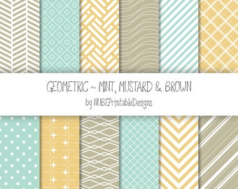 Geometric Digital Papers: Mint, Mustard Yellow and Brown; Seamless Patterns Backgrounds; Polka Dots, Waves, Chevron, Stripes, Squares, Stars
