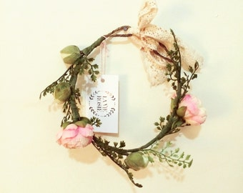 Silk Floral Crown - Made with Ranunculous and Maidenhair Fern