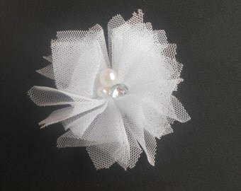 """Tulle Pearl and Rhinestone Flower, White, Tulle  Flower, 2.5 """" , Hair Bow Supplies, Kids Headbands, DIY, Shabby Chic, Wholesale"""
