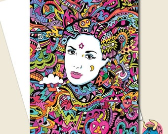 Lost in the Moment Greetings Card, Psychedelic Card, Colourful Card, Crazy Card, Trippy Card, Birthday Card, Girl Bday Card, Portrait Card