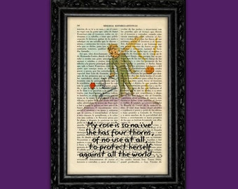 Principito poster Book Art Print Le Petit Prince Exupéry quote Art Print on Dictionary Paper Vintage original illustration (Nº9 )