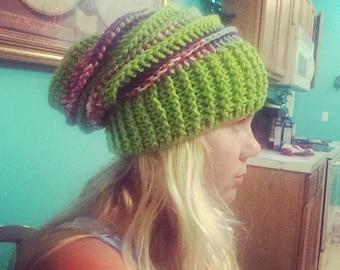 Crochet Slouchy Riptide Beanie Hat Green Purple Pink