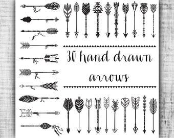 Hand Drawn Word Arrows Tribal Aztec Digital Clip by ...