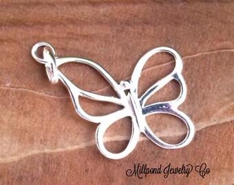 Butterfly Charm, Silver Butterfly Charm, Butterfly Pendant, Silver Charm, Silver Pendant, Open Butterfly Charm