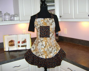 Women's Reversible Apron with Cat Theme and Paw Prints on it