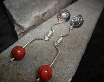 Reticulated sterling silver oxidized with yellow and coral sponge gold earrings Red