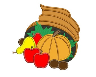 Thanksgiving cornucopia basket applique Machine Embroidery Digitized Design Pattern- Instant Download -  4x4 , 5x7, and 6x10 hoops