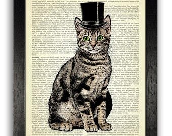 Top Hat Cat Art Print, Cat Artwork, Cat Drawing, Cat Illustration Poster, Cat Gift, Cat Painting Print, Kitten Poster Decor, Cat Present