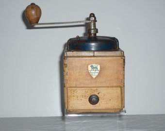vintage wooden coffee grinder made in France by Peugeot Frères. French Kitchen