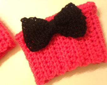 Neon Pink Bootcuffs with Black Bows
