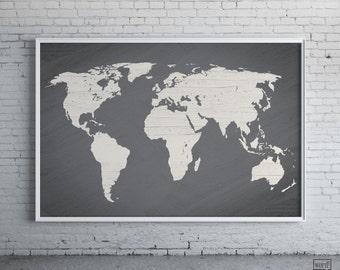 Gray World Map Poster, Large World Map Print, Modern Home Decor, Travel Decor, Map Art, Gift for Him, Wall Art
