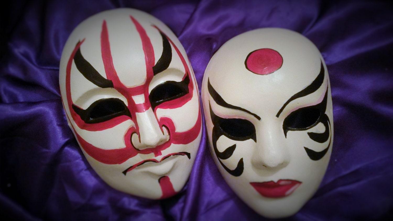 Kabuki Kumadori masks. Japanese theater masks. Couples masks.