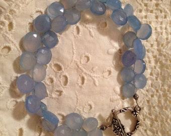 Faceted Briolette Periwinkle Blue Chalcedony Handcrafted Bracelet