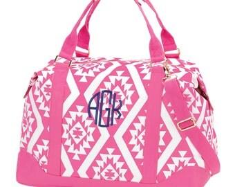 Pink Aztec Monogrammed Weekender Bag