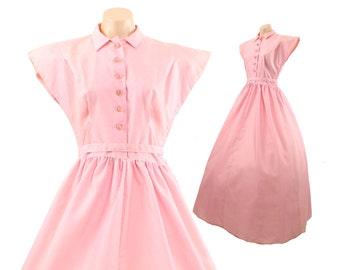 Vintage 40s Evening Gown Cocktail Dress Floor Length Pink Full Skirt Short Sleeves 1940s Prom Formal Womens size medium M Fred Perlberg