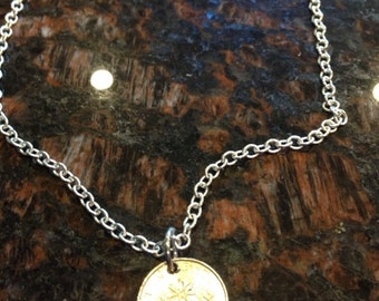 Singapore 10 cents coin necklace
