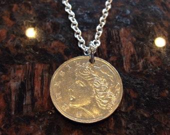Brazil 50 centavos coin necklace
