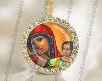 Madonna Virgin Mary and Baby Jesus Religious Christian Orthodox Gold Medal Pendant Jewelry