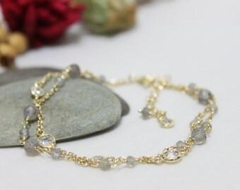 Labradorite & Bezel CZ Station Bracelet, Two Line Dainty Bracelet, Gold Plated Bracelet, Sterling Silver Bracelet.