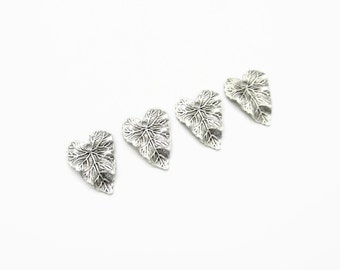 Antiqued Silver Leaf Charms Pendants, Small Leaves, 4 pcs