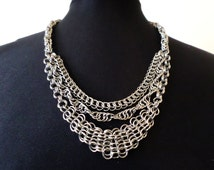 Triple Chain Chainmaille Necklace - Stainless Steel Multi-Weave Chainmail Necklace - Egyptian Style Jewelry