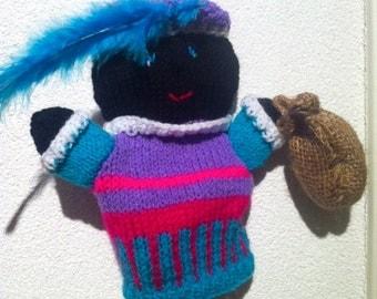 black peter puppet, handmade, knitted, sinterklaas, dutch tradition, december 5th, december decoration puppets, sint en piet