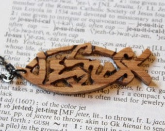 Jesus Fish Necklace / Hand-carved Wood Necklace