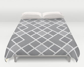 Geometric Duvet Cover - Slate Grey and White - Modern Diamond Pattern Bedding - Mid Century - Queen Size Duvet Cover - King Size Duvet Cover