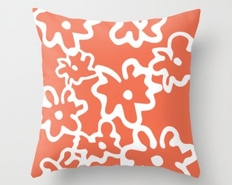 Flowers Pillow Cover - Coral and White - Modern Floral Accent Pillow - Abstract Flower Decorative Pillow - By Aldari Home
