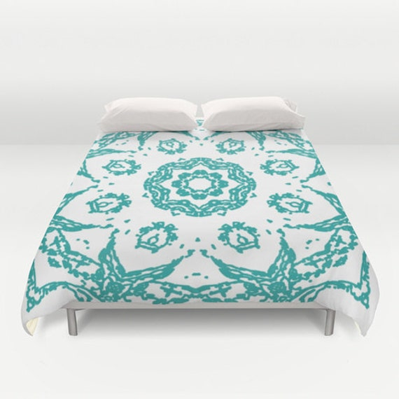 housse de couette de mandala aqua turquoise et blanc. Black Bedroom Furniture Sets. Home Design Ideas