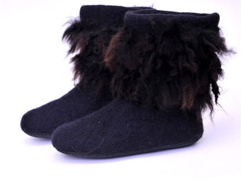 Eco friendly felted slippers with rubber soles