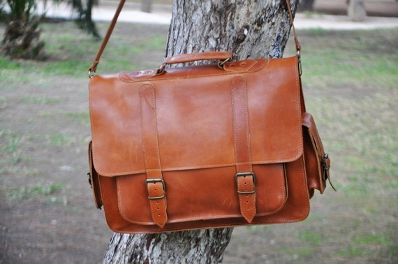Leather Messenger Bag 17 inch Laptop Bag Tobacco Leather