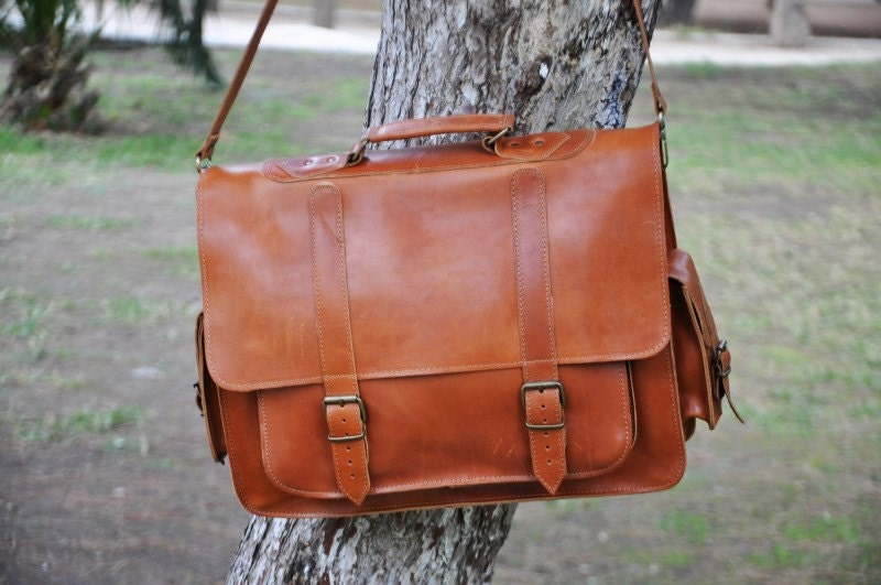 Leather Messenger Bag 17 inch Laptop Bag Tobacco Leather