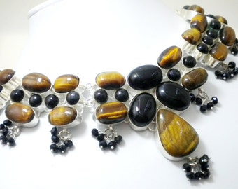 92.5 Sterling Silver plated Tiger eye and Black onyx Natural stone Beads necklace