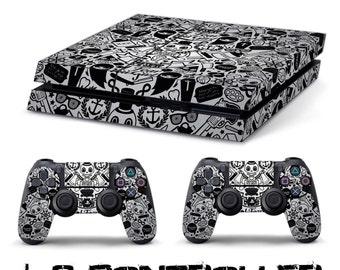 PS4 SKIN tattoo + playstation 2 controller sticker decal 4 sony