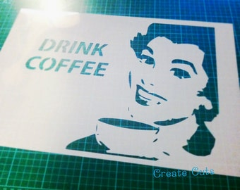 Vintage Retro Drink Coffee STENCIL for home wall interior decor / reusable stencil