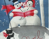 Retro Snowman Couple Black Scottie Dog Christmas Card #382 Digital Download