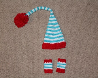 Crochet Striped Pixie Hat and Leg Warmers