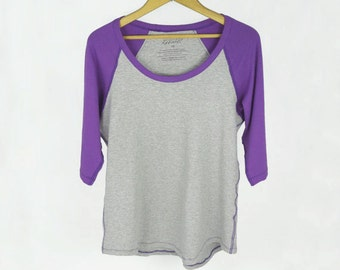 Ladies bamboo raglan sleeve shirt, women's spring fashion, purple and grey, relaxed fit top