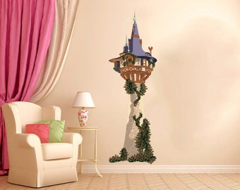 Pink Princess Castle Fabric Wall Decal  Sticker, Repositionable. Reusable Peel& Stick