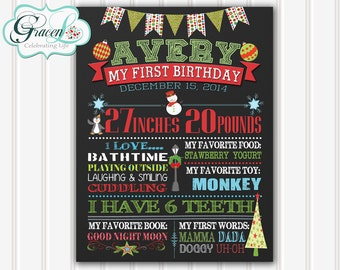 First Birthday Sign, 1st Birthday Sign, Christmas 1st Birthday Sign, Birthday Sign, Personalized Sign, Printable 8x10, 11x14 or 16x20