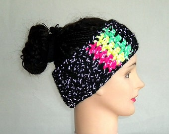 Reflective headband, dreadlock headband, neon rasta colors, safety reflector, reflective clothing