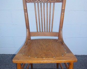 Solid Oak Antique Press Back Chair/Kitchen Chair/Ladder Back Chair/Restored  Antique