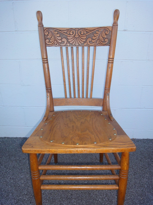 Solid oak antique press back chair kitchen ladder